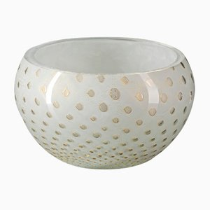 Gold & White Italian Murano Glass Mocenigo Bowl by Marco Segantin for VGnewtrend