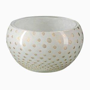 Gold & White Italian Murano Glass Mocenigo Bowl by Marco Segantin for VGnewtrend