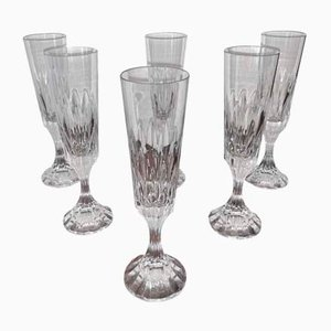 Vintage Model Assas Fluted Crystal Champagne Glasses from Baccarat, Set of 6