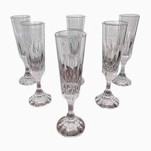 Vintage Model Assas Fluted Crystal Champagne Glasses from Baccarat, Set of 6