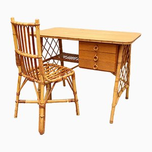 Rattan Desk / Vanity Table and Chair by Louis Sognot, 1950s
