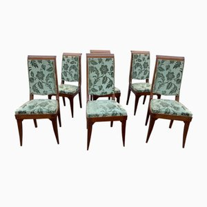 Vintage Art Deco Mahogany Chairs by Gaston Poisson, 1930s, Set of 6