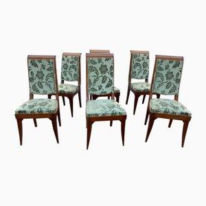 Vintage Art Deco Mahogany Chairs by Gaston Poisson, 1930s, Set of 6