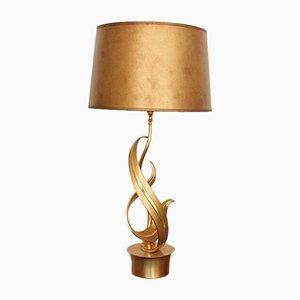 Tischlampe aus vergoldeter Bronze mit Fuß in Flammen-Optik von Lumi Milano