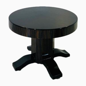 Round Art Deco Macassar and Piano Lacquer Side Table, 1920s