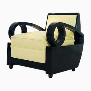 Art Deco Sessel mit geschwungener Rückenlehne, 1920er