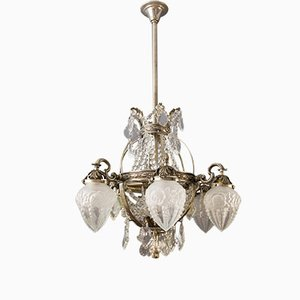 Art Deco French Bronze & Crystal Chandelier, 1920s