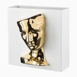 Vase Psyche of Capua en Céramique Blanche & Or par Marco Segantin pour VGnewtrend