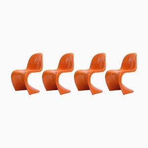 Sedie arancioni di Verner Panton per Fehlbaum, anni '70, set di 4