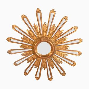 Carved and Gilded Wood Sunburst Mirror
