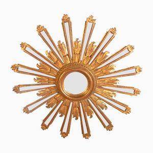 Spiegel mit Rahmen aus geschnitztem & vergoldetem Holz in Sonnen-Optik
