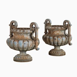 19th Century Pale Blue Garden Urns, 1890s, Set of 2
