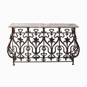 19th Century French Wrought Iron Console with Rouge Marble Top, 1860s