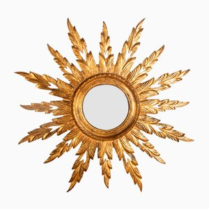 Miroir Soleil en Bois Sculpté Doré