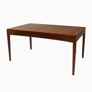 English Extending Solid Afrormosia Dining Table, 1970s