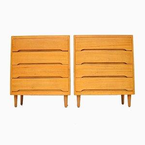 Cassettiere in legno satinato, anni '60, set di 2