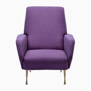 Aufbereiteter italienischer Sessel mit violettem Bezug, 1950er