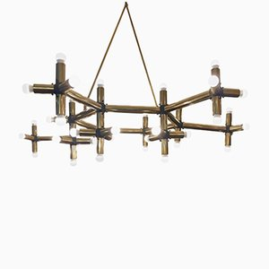 Large French Brass Geometrical Ceiling Lights, Set of 2