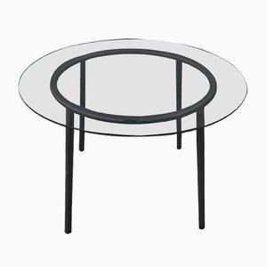 Tavolo rotondo in vetro e metallo cromato, anni '70