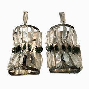 Wandleuchten aus Kristallglas im Art Deco-Stil, 1950er, 2er Set