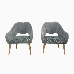 Small Italian Velvet Armchairs, 1950s, Set of 2