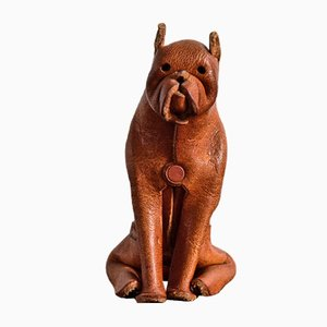 Leather Crafted Boxer Dog from Deru, 1960s