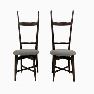 Italian Teak High Back Chairs, 1960s, Set of 2