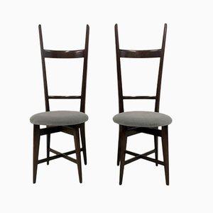 Italienische Stühle aus Teak mit hoher Rückenlehne, 1960er, 2er Set