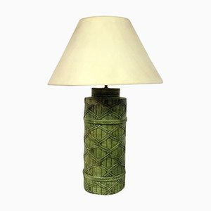 Italian Green Faux Rattan Ceramic Lamp, 1970s