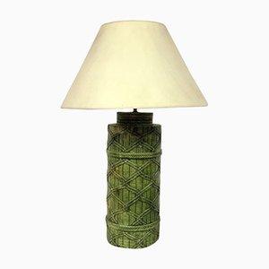 Lámpara italiana de cerámica verde imitando ratán, años 70