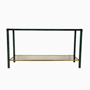 French Green Brass Console Table, 1970s