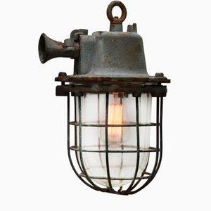 Lámpara enjaulada industrial vintage de hierro fundido gris