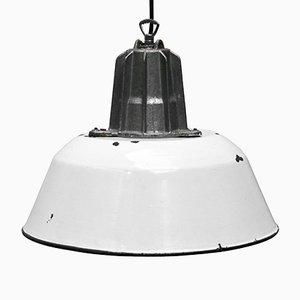 Vintage White Enameled Cast Aluminum Industrial Pendant Lamp