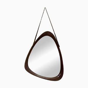 Asymmetrischer Spiegel mit Rahmen aus Teak & Lederriemen, 1960er