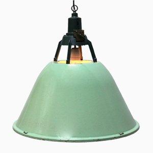 Grün emaillierte industrielle Vintage Hängelampe