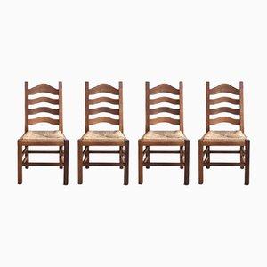 Sedie da pranzo vintage in quercia con sedute in paglia, Olanda, set di 4