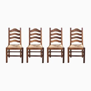 Vintage Dutch Oak Dining Chairs with Straw Seats, Set of 4