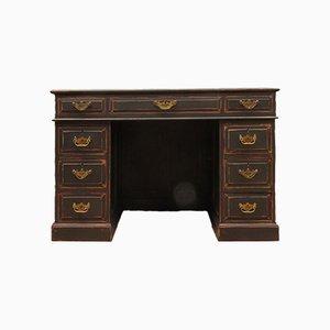 Antiker schwarz lackierter Schreibtisch aus Eiche