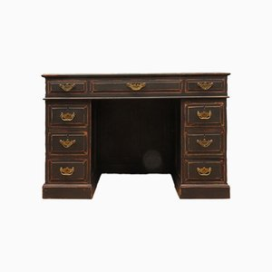 Antique Black Painted Oak Desk