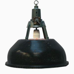 Schwarz emaillierte industrielle Vintage Hängelampen