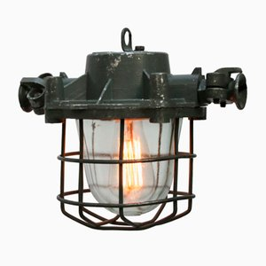 Vintage Industrial Grey Cage Hanging Lamp