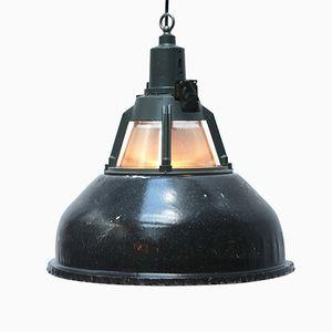 Vintage Industrial Dark Gray Enamel Pendant