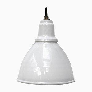Weiß emaillierte industrielle Vintage Fabriklampe
