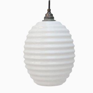 Lampe à Suspension Ronde Vintage en Verre Opalin Blanc