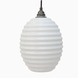 Vintage White Opaline Glass Round Pendant Light