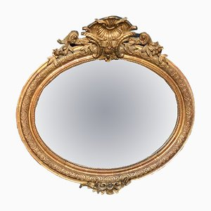 19th-Century French Oval Gilt Wood Wall Mirror, 1880s