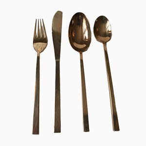 Mid-Century Bronze Cutlery by Prince Sigvard Bernadotte for Scanline, 1950s, Set of 32