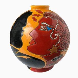 Vase von Danillo Curetti für Longwy, 1980er