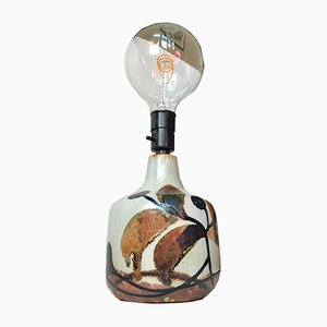 Dänische Tischlampe aus Steingut mit herbstlicher Glasur von Ursula Printz Mogensen, 1960er