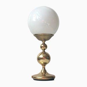 Lámpara de mesa Mid-Century de vidrio opalino y latón de ABO, años 70